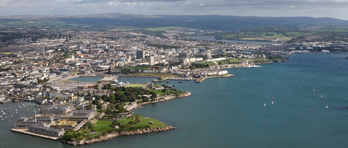 Aerial view of Plymouth coastline